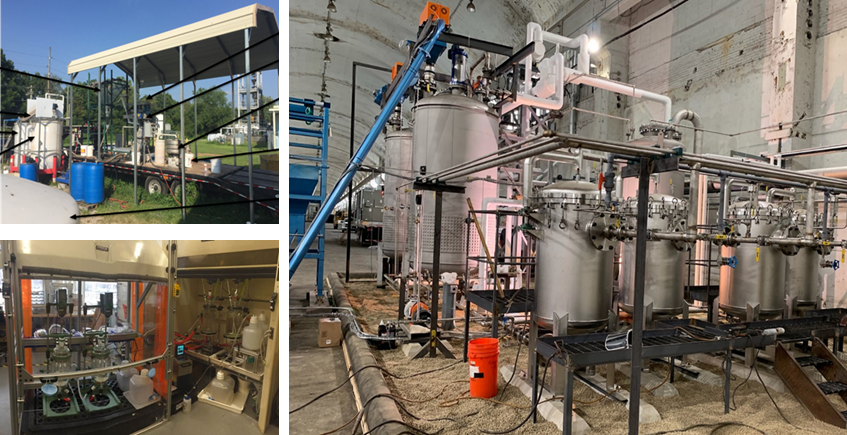 Figure 14 — PSI-Winner Water's Pilot-Scale Rare Earth Extraction Facility. Upper Left Photo: University of Kentucky's Center of Applied Energy Research Physical Beneficiation Facility; Lower Left Photo: PSI Micro-Pilot Facility in Andover, Massachusetts; Right Photo: Chemical Extraction facility in Sharon, Pennsylvania
