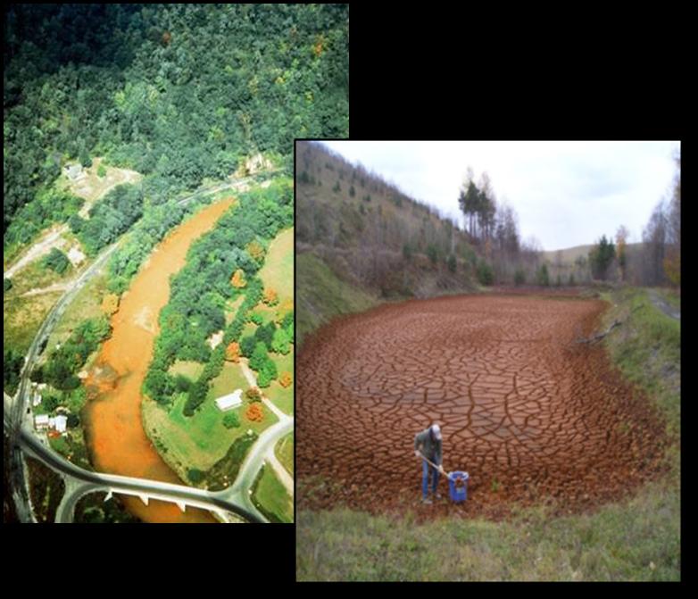 Figure 16 — Acid Mine Drainage Stream and Small AMD Sludge Drying Cell