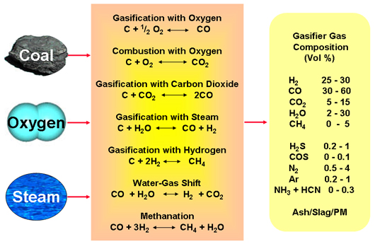 These are separate reversible gas phase reactions taking place simultaneously based on gasifier conditions.