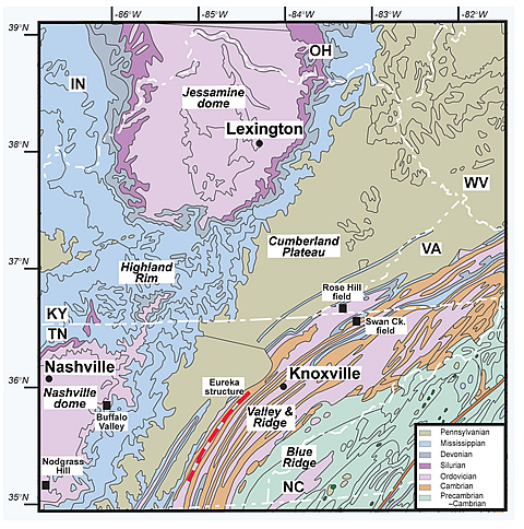 Simplified geologic map of parts of Kentucky, Tennessee, North Carolina, Virginia, and West Virginia showing the major structures, geologic units, cities, and physiographic provinces. The locations of the Eureka structure, Rose Hill field, and Swan Creek field are also shown. Geology compiled and slightly modified from thegeologic maps of Ketucky, Tennessee, North Carolina, Virginia, and West Virginia published by the respective state geological surveys.