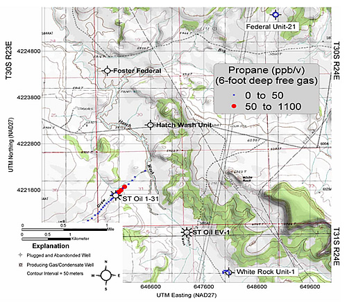 Absolute concentration (ppb/v) of propane in free gas samples collected over the Lightning Draw Southeast field anticline and the surrounding area. Base map: La Sal 30X60' topographic quadrangle map, U.S. Geological Survey.
