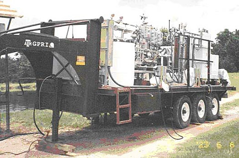 Mobile Desalination Unit. The trailer can process up to 10,000 gallons per day of water suitable for local ranching and small communities' water use.