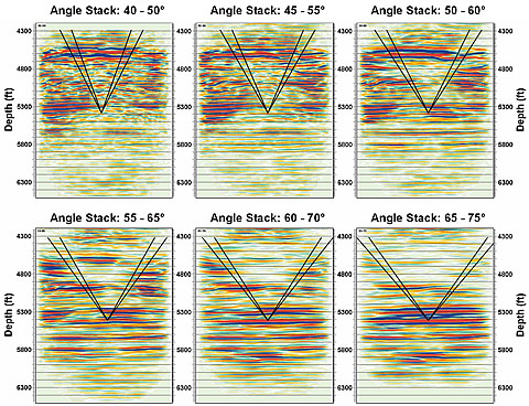 Six angle range stacks of the complete seismic section, illustrating the changing nature of reflectors with differing angles. Each image covers same depth range and all are approximately 1:1. Note that the deeper reflections are coherent and strong only at wide angles, where the rays have not passed through the center of the reef.