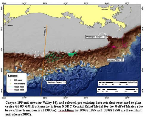 Canyon 195 and Atwater Valley 14), and selected pre-existing data sets that were used to plan cruise G1-03-GM. Bathymetry is from NGDC Coastal Relief Model for the Gulf of Mexico (the brown/blue transition is at 1300 m) Tracklines for USGS 1999 and USGS 1998 are from Hart and others (2002).