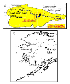 Maps: a) Alaska North Slope Gas Hydrate stability zone extent (Courtesy of USGS); b) The locations of the three study sites in the Alaska.