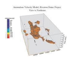 Three-dimensional depiction of anomalous velocity volume from Riverton Dome survey