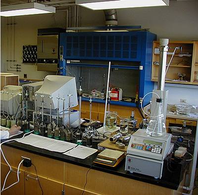 Rates of oil recovery by spontaneous imbibition are measured in a lab.