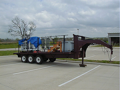 A water filtration trailer at the Texas A&M campus Brayton water treatment plant. The portable unit will be placed onsite, first at Texas A&M, then at an oil lease. This allows operations for extended times to measure operating efficiency.