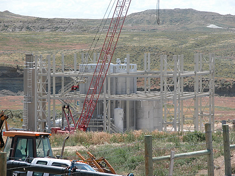View of a reverse osmosis plant under construction in the Powder River Basin.