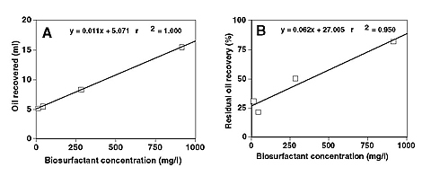 Effect of increasing concentrations of the JF-2 biosurfactant on oil recovery from sand-packed columns flooded to residual oil recovery.