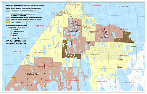 Map of the Barrow Gas Fields operated by the North Slope Borough Department of Public Works Energy Management Group.