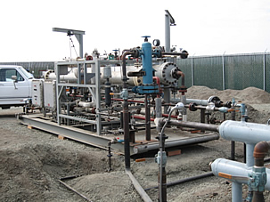 Skid-mounted nitrogen-separation membrane unit currently operating at a gas field demonstration site in Rio Vista, CA.