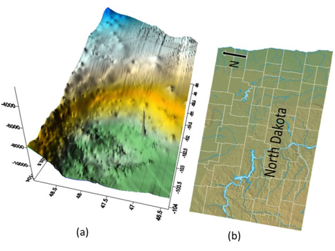 Fig.1 (a)Three-dimensional Bakken geological model in Williston Basin, North Dakota (vertical coordinate exaggerated for display purposes) and (b)corresponding topography on surface