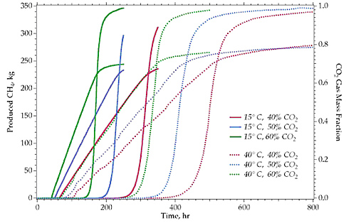 1-Dimensional Homogeneous Simulations: CH4 Production and CO2 Breakthrough