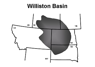 Location of Williston Basin, which is semi-circular in shape and a site of subsidence through much of Paleozoic time