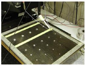 Machined test plate used to test array
