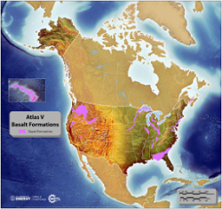 Image depicting Basalt Formations in the United States. Basalts may offer a highly secure method of CO2 storage because of their potential to allow the CO2 to react with the minerals in basalt to form carbonates, thereby permanently trapping the CO2.