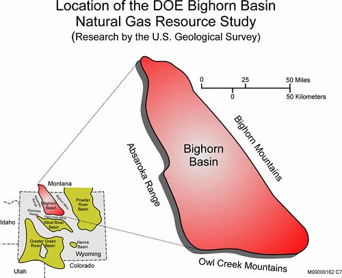 Location of the DOE Bighorn Basin Natural Gas Resource Study (Research by the U.S. Geological Survey)