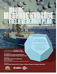 The Marine Methane Hydrate Field Science Plan documenting ongoing challenges in gas hydrate science, the types of research needed to help meet those challenges, and the types / locations of marine field research expeditions that could make the most significant impacts in those research areas.