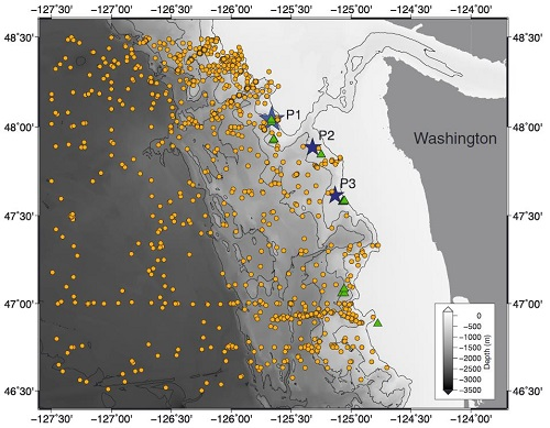 Bathymetry map of archive data locations along the Washington continental slope showing conductivity-temperature-depth (CTD) observations as orange dots, bathymetric transects (P1–P3) as blue stars, and known methane seep sites as green triangles. (Hautala et al. 2014)