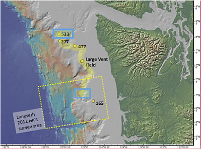 Washington margin bathymetry map identifying key sites. Yellow circles are methane plume sites. Numbers next to plumes are the water depth of the emission sites. Yellow dashed box is the R/V Langseth MCS survey that identified large areas of bottom-simulating reflectors (BSRs) (Holbrook et al., 2012). Broad yellow line is schematic trackline for the planned 2014 expedition following 500 m contour.Blue boxes are areas for detailed conductivity, temperature, and depth (CTD); water sampling; and coring sites.