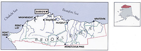 Map of the North Slope Borough showing the location of its eight major communities,  including Barrow, the site of this research project.