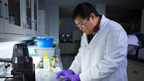 Viktor Kusuma works with gas separation membranes that can be cured by exposure to ultraviolet light. High-performance materials such as these can be used in CO2 separations from flue gas, among other applications.